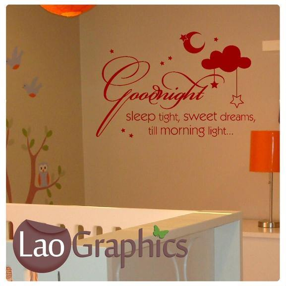 Goodnight Sleep Tight Quote Kids Nursery Quote Wall Stickers Home Decor Art Decals-LaoGraphics