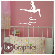 Gymnast & Ribbon Girls Room Wall Sticker Home Decor Art Decals-LaoGraphics