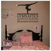 Gymnastics Quote Girls Room Wall Sticker Home Decor Art Decals-LaoGraphics
