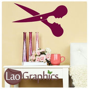 Hairdressing Scissors Girls Hair & Beauty Wall Stickers Home Decor Art Decals-LaoGraphics