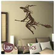 Halloween Witch & Broomstick Vinyl Transfer Wall Stickers Home Decor Art Decals-LaoGraphics