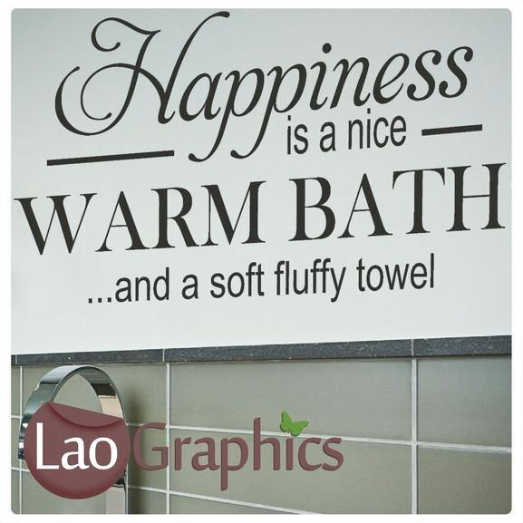 Happiness is a Nice Warm Bath Wall Sticker Home Decor Art Decals-LaoGraphics