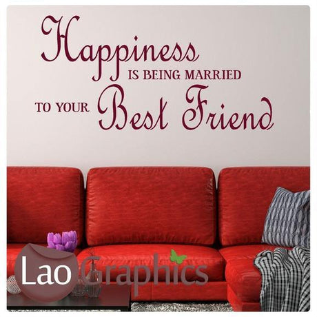Happiness is Being Married Romantic Quote Wall Stickers Home Decor Love Art Decals-LaoGraphics
