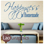 Happiness is Homemade Quote Large Quote Wall Stickers Home Decor Art Decals-LaoGraphics