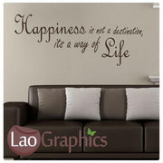 Happiness Is Not a Destination Inspiring Quote Wall Stickers Home Decor Art Decals-LaoGraphics