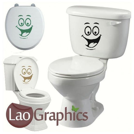 Happy Face #4 Bathroom Toilet Stickers Home Decor Art Decals-LaoGraphics
