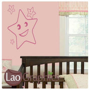 Happy Stars Cute Kids Wall Stickers Home Decor Art Decals-LaoGraphics