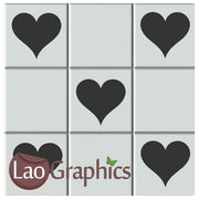Heart Kitchen / Bathroom Tile Transfers Home Decor Art Decals-LaoGraphics