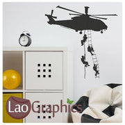 Helicopter & Soldiers Military & Army Wall Stickers Home Decor Art Decals-LaoGraphics