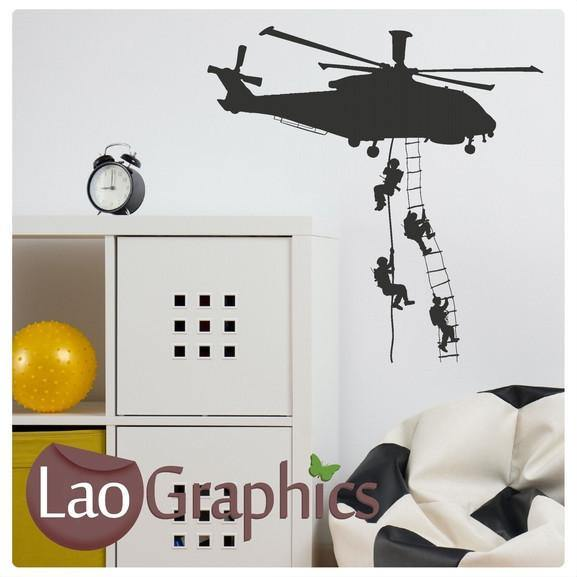 Helicopter & Soldiers Military & Army Wall Stickers Home Decor Art ...