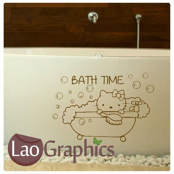 Hello Kitty Bath Time Quote Wall Sticker Home Decor Art Decals LaoGraphics