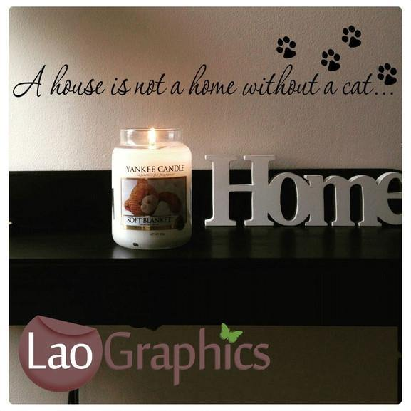 Home Cat Quote House Cats Wall Stickers Home Decor Feline Art Decals-LaoGraphics