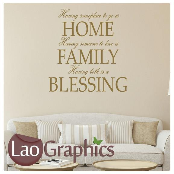 Home Family Blessings Quote Modern Interior Quote Wall Stickers Home Decor Art Decals-LaoGraphics