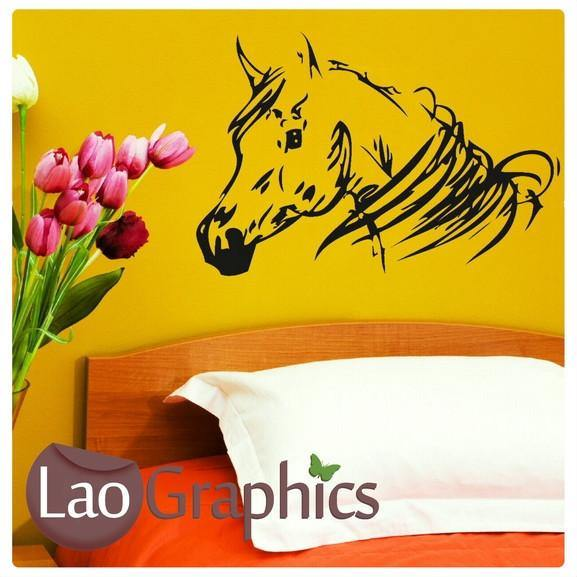 Horse Head Girls Room Wall Stickers Home Decor Animal Art Decals-LaoGraphics