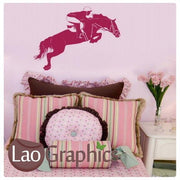 Horse Rider Riding Girls Room Wall Stickers Home Decor Animal Art Decals-LaoGraphics