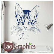 House Cat Head House Cats Wall Stickers Home Decor Feline Art Decals-LaoGraphics