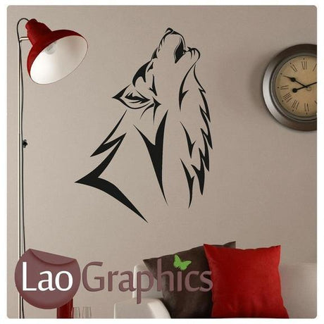 Howling Wolf Wild Animals Wall Stickers Home Decor Art Decals-LaoGraphics
