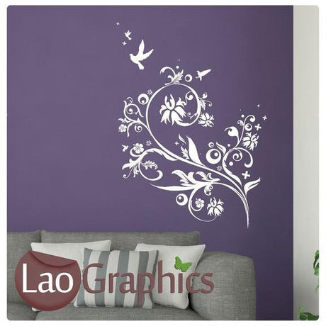 Humming Bird Flower Modern Interior Wall Stickers Home Decor Art Decals-LaoGraphics