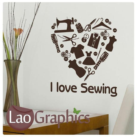 I Love Sewing Vinyl Transfer Wall Stickers Home Decor Art Decals-LaoGraphics