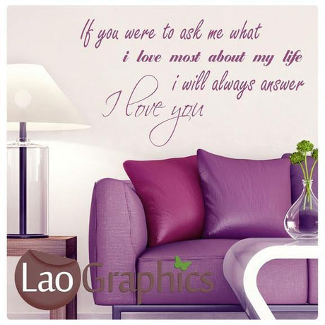 If You Were To Ask Me Romantic Quote Wall Stickers Home Decor Love Art Decals-LaoGraphics