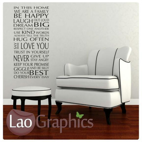 In This Home We Are Family Quote Modern Interior Quote Wall Stickers Home Decor Art Decals-LaoGraphics