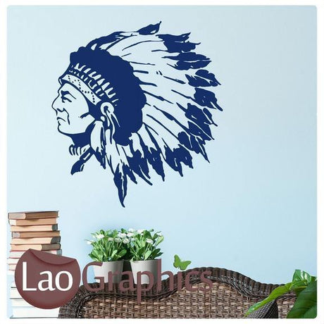Indian Chief Boys Bedroom Wall Stickers Home Decor Boys Room Art Decals-LaoGraphics