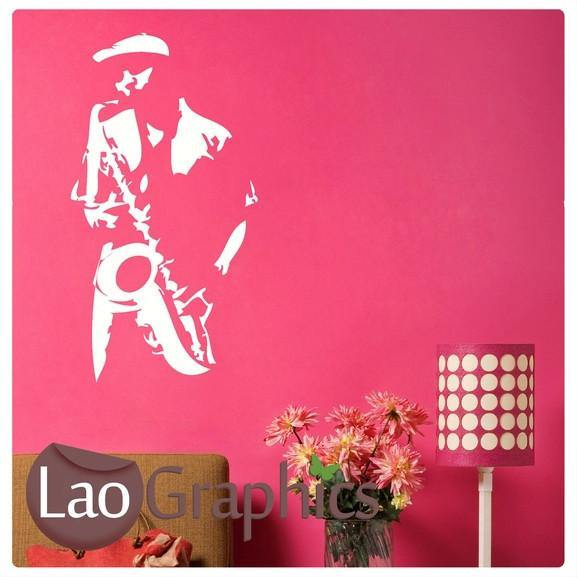 Jazz Mann Sax Player Wall Sticker Negative Home Decor Art Decals LaoGraphics