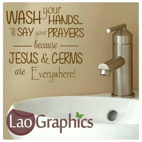 Jesus & Germs are Everywhere Quote Wall Sticker Home Decor Art Decals-LaoGraphics