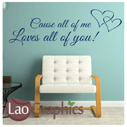 John Legend - All of Me Romantic Quote Wall Stickers Home Decor Love Art Decals-LaoGraphics
