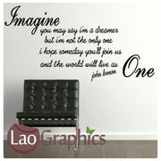 John Lennon - Imagine Quote Inspiring Quote Wall Stickers Home Decor Art Decals-LaoGraphics