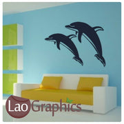 Jumping Dolphins Girls Room Aquatic Wall Stickers Home Decor Art Decals-LaoGraphics
