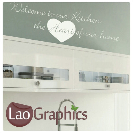 Kitchen Heart of The Home Kitchen Quote Wall Stickers Home Decor Art Decals-LaoGraphics