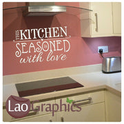 Kitchen Seasoned With Love Kitchen Quote Wall Stickers Home Decor Art Decals-LaoGraphics