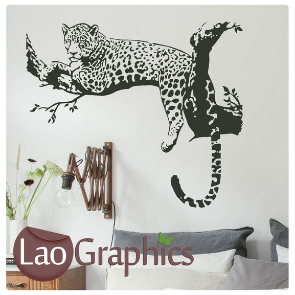 leopard in a tree wild animals large kitty wall stickers home decor