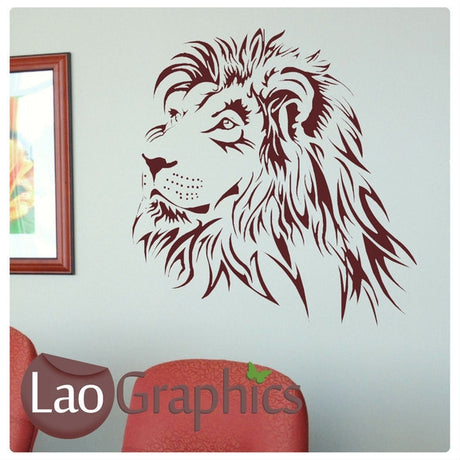 Lion Head Wild Animals Large Kitty Wall Stickers Home Decor Art Decals-LaoGraphics