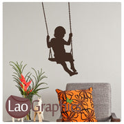 Little Boy on a Swing Childrens Nursery Wall Stickers Home Decor Art Decals-LaoGraphics