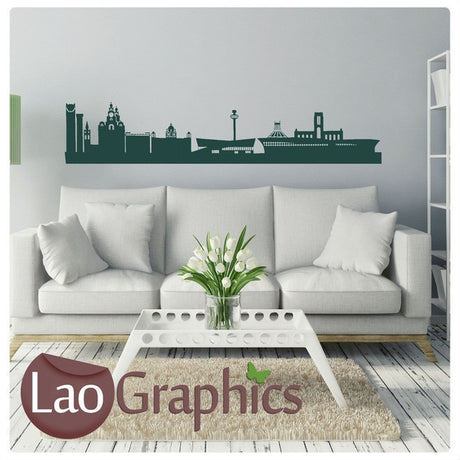 Liverpool Skyline City Scape Wall Stickers Home Decor Art Decals-LaoGraphics