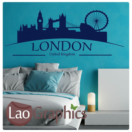 London Skyline & Text City Scape Wall Stickers Home Decor Art Decals-LaoGraphics