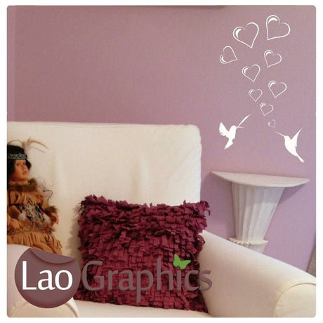 Love Birds Girls Room Wall Stickers Home Decor Pretty Art Decals-LaoGraphics