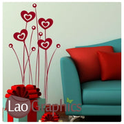 Love Heart Flower Heads Modern Interior Wall Stickers Home Decor Art Decals-LaoGraphics