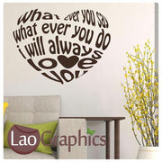 Love Heart Quote Romantic Quote Wall Stickers Home Decor Love Art Decals-LaoGraphics