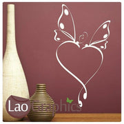 Love Heart & Wings Girls Room Wall Stickers Home Decor Pretty Art Decals-LaoGraphics