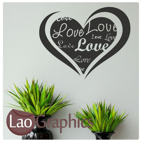 Love Heart With Words Girls Room Wall Stickers Home Decor Pretty Art Decals-LaoGraphics