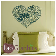 Love Heart Writing Girls Room Wall Stickers Home Decor Pretty Art Decals-LaoGraphics