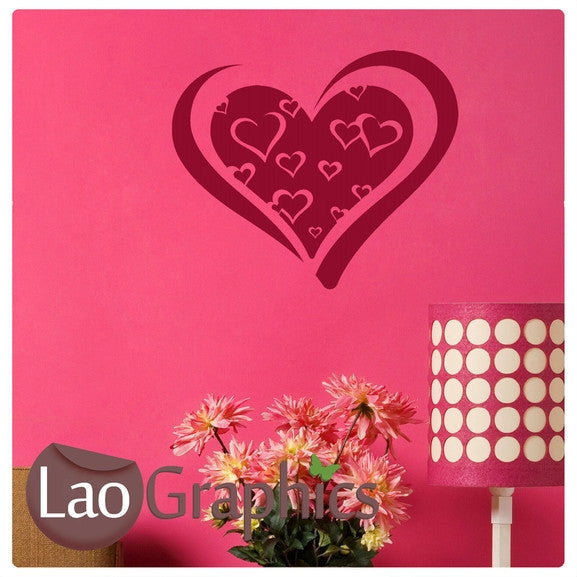 Love Hearts in a Heart Girls Room Wall Stickers Home Decor Pretty Art Decals-LaoGraphics