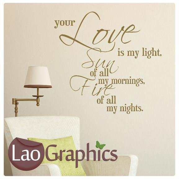 Love is my Light Quote Romantic Quote Wall Stickers Home Decor Love Art Decals-LaoGraphics