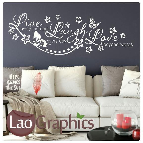 Love Love Laugh Quote Inspiring Quote Wall Stickers Home Decor Art Decals-LaoGraphics