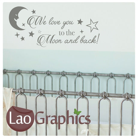 Love You To The Moon Nursery Quote Home Decor Art Decals-LaoGraphics