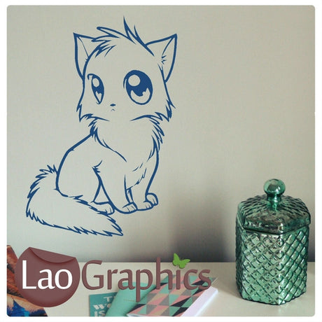 Manga Style Cat House Cats Wall Stickers Home Decor Feline Art Decals-LaoGraphics