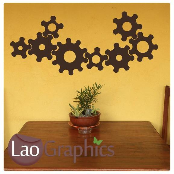 Mechanical Cogs Vinyl Transfer Wall Stickers Home Decor Art Decals-LaoGraphics